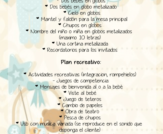 Plan Baby Pop (Baby shower con decoración)