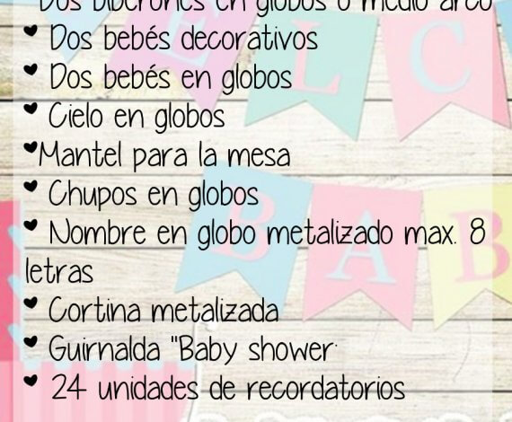 Plan Deco Shower – Decoración Solo decoración para tu baby shower